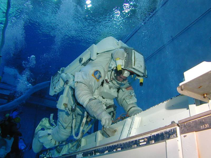 Astronaut training underwater at the Neutral Buoyancy Lab